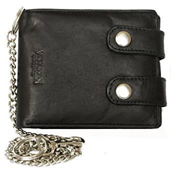 Billetera negro estilo motero de cuero con cadena de metal 1